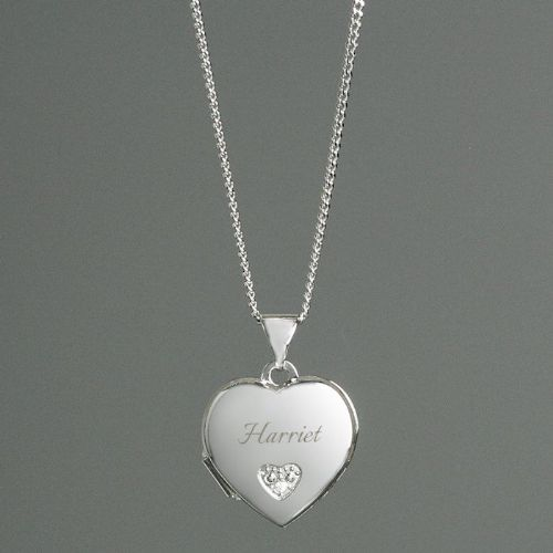 Children's Sterling Silver & Cubic Zirconia Heart Locket Name Necklace
